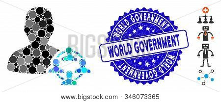 Mosaic Politics Icon And Distressed Stamp Seal With World Government Phrase. Mosaic Vector Is Formed