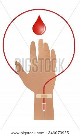 A hand raised up, sacrificing blood. Blood donation. A catheter and a Band-Aid on your arm. Donate blood to those in need. Vector eps illustration. poster
