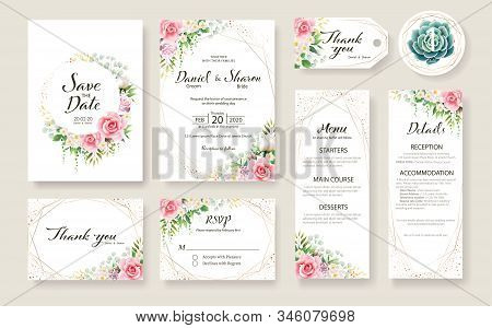 Floral Wedding Invitation Card, Save The Date, Thank You, Rsvp, Table Label, Tage Template. Vector.