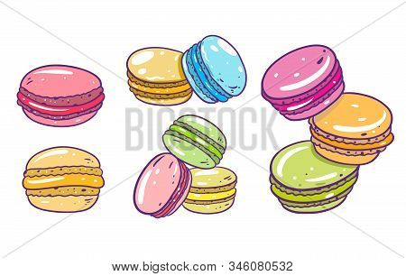 Colorful Macarons Set. Hand Drawn Vector Illustration. Cartoon Style With Outline.