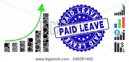 Mosaic Hyip Bar Chart Icon And Grunge Stamp Seal With Paid Leave Phrase. Mosaic Vector Is Composed F