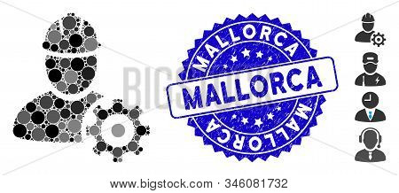 Mosaic Service Man Icon And Rubber Stamp Seal With Mallorca Text. Mosaic Vector Is Designed With Ser
