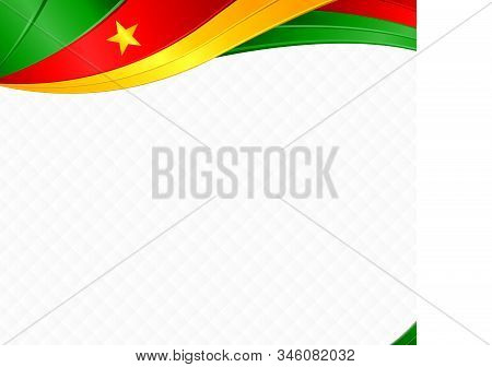 Abstract Background With Wave Shapes With The Green, Red, Yellow Colors Of The Flag Of Cameroon To U