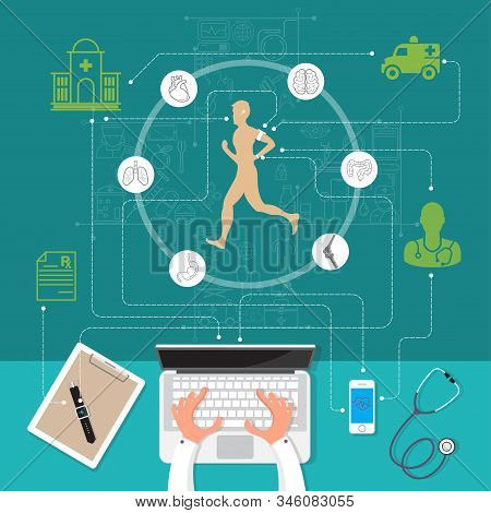 Vector Illustration Modern Creative Health Infographics Design On Modern High Tech Devices Using In
