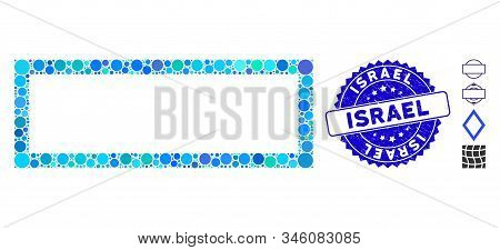 Mosaic Rectangle Frame Icon And Rubber Stamp Seal With Israel Caption. Mosaic Vector Is Created With