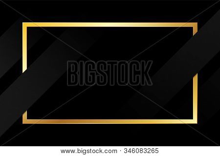 Illustration Minimal, Gold Frame With Black Texture Background. Monochrome Geometric Abstract Black