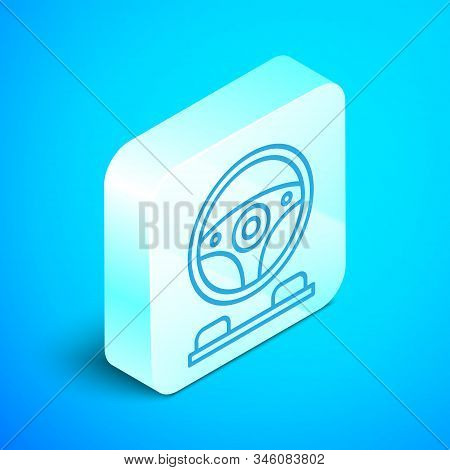 Isometric Line Racing Simulator Cockpit Icon Isolated On Blue Background. Gaming Accessory. Gadget F