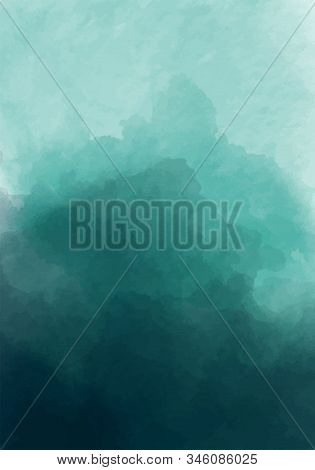 Emerald Watercolour Background In Watercolor Style On Colorful Background. Modern Deep Green, Great