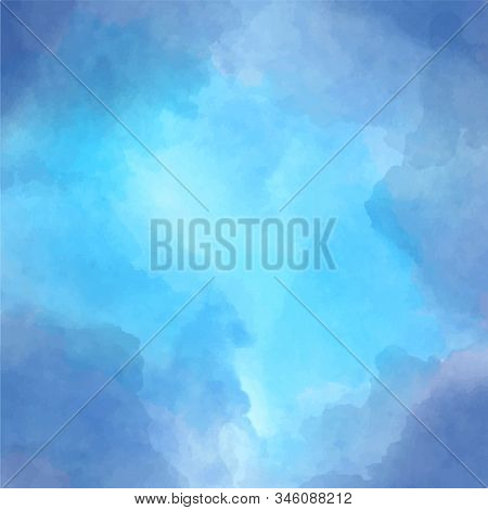 Background With Testure Watercolor Clouds In Blue. Clearance In The Clouds, Hope.
