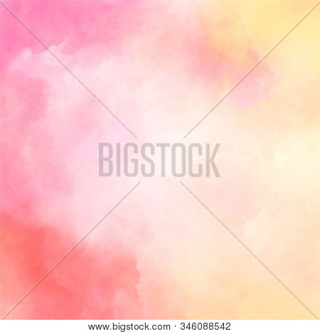 Pink-yellow Watercolor Background. Delicate Peach Color. Watercolor Background For Romantic, Wedding
