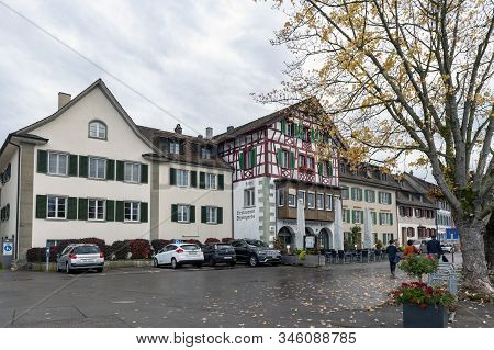 Stein Am Rhein, Switzerland - October 2019: Old Buildings Renovated To Hotels And Restaurants In The