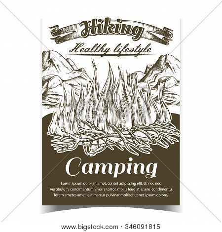 Hiking Camping Adventure Advertise Banner Vector. Burning Tree Branch Sticks Sprouts Camping Fire An