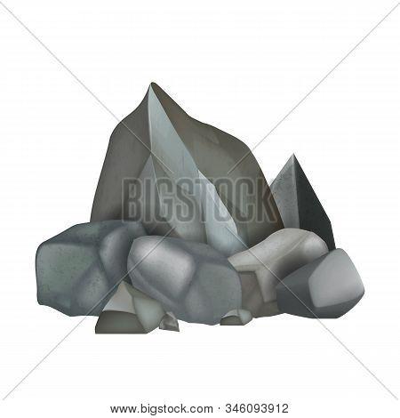 Rock Stone Rough Cobblestone Boulder Heap Vector. Mountain Solid Granite Gravel Stone And Debris Pie