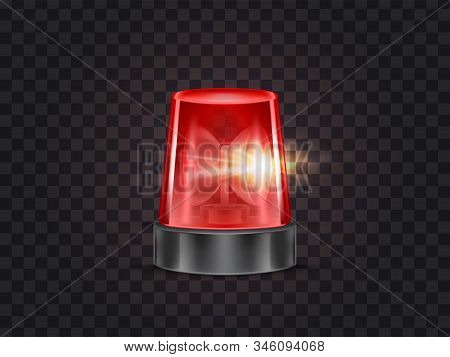 Illustration Of Red Flasher, Flashing Beacon With Siren For Police And Ambulance Cars, Isolated On B