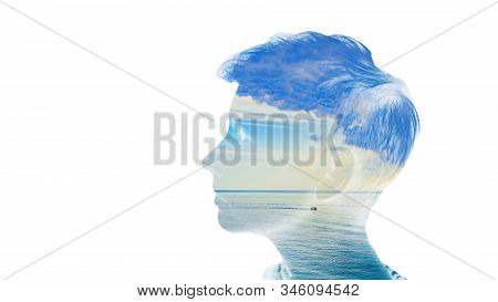 Double Multiply Exposure Beautiful Woman Head Face Silhouette Portrait White Isolated With Sea Water