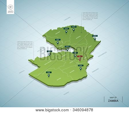 Stylized Map Of Zambia. Isometric 3d Green Map With Cities, Borders, Capital Lusaka, Regions. Vector