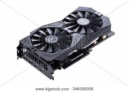 Izhevsk, Russia, November 17, 2019. Video Graphics Card With Powerful Gpu  Isolated On White Backgro