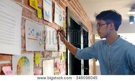 Young Asian Creative Design Man Reading And Thinking About Paper Work Ideas On Office Wall With Conc