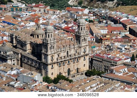 Elevated View Of The Cathedral And City Rooftops, Jaen, Jaen Province, Andalucia, Spain, Western Eur