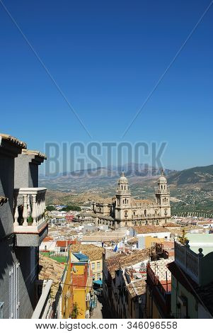 Elevated View Of The Cathedral With Olive Groves To The Rear, Jaen, Jaen Province, Andalucia, Spain,