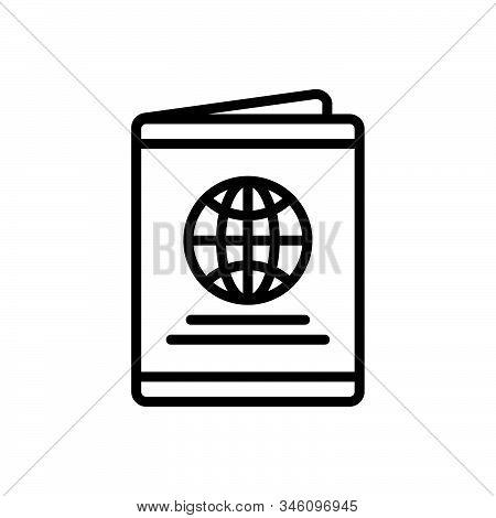 Black Line Icon For Passport Immigration Document Identification Emigration