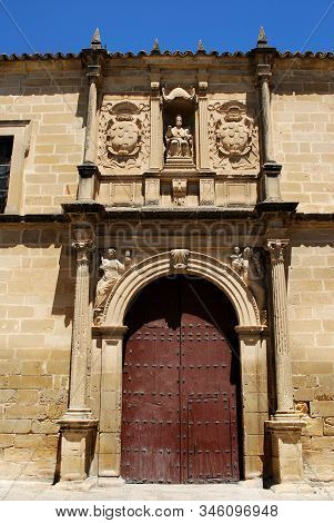 Front View Of San Pedro Church With Its Large Doorway, Ubeda, Andalucia, Spain.