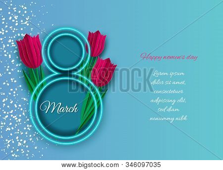 8 march holiday, women's day holiday background, holiday banners, women's day flyer, women's day holiday design with flowers on blue background, Copy space text area, illustration.