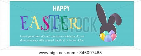 Vector Easter bunny looking out a green background. Happy Easter, easter bunny, easter background, easter banners, easter flyer, easter design,easter with flowers on red background, Copy space text area, vector illustration.