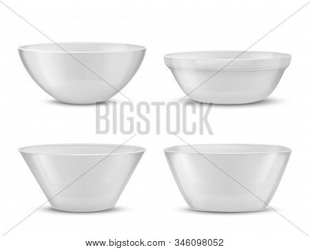 3d Realistic Porcelain Tableware, White Glass Dishes For Different Food. Containers With Shadows, Tu