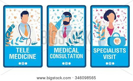 Virtual Doctor Help Onboarding Mobile App Page Flat Screens Set. Telemedicine Services. Online Consu