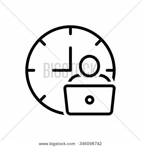 Black Line Icon For Man-hour Man Work Laptop Hour Hourly