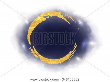 Watercolor Background With A Dark Blue Night Sky, Nebula, Stars And A Golden Circle Or Moon.