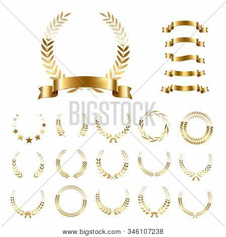 Golden Laurel Wreaths And Ribbons Set On White Background. Set Of Foliate Award Wreath For Champions