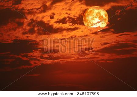 Super Blood Snow Moon Back On Silhouette Cloud On Sunset Sky