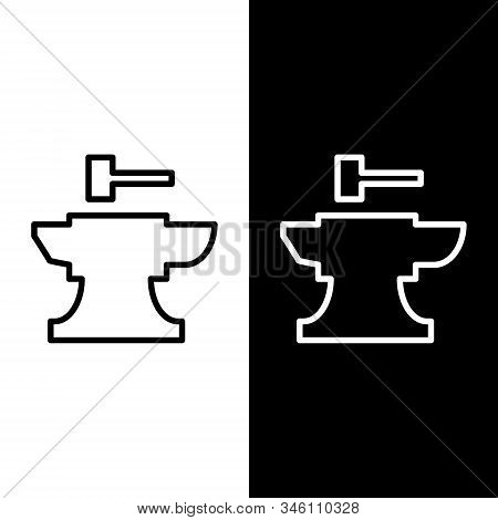 Set Line Anvil For Blacksmithing And Hammer Icon Isolated On Black And White Background. Metal Forgi