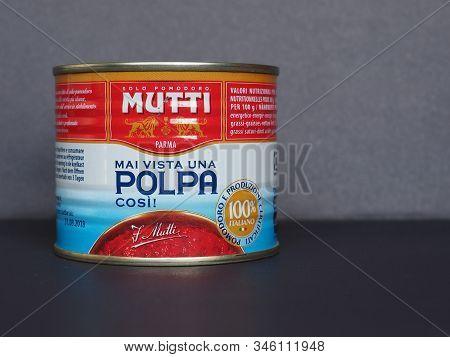 Parma - Jan 2020: Mutti Tomato Can