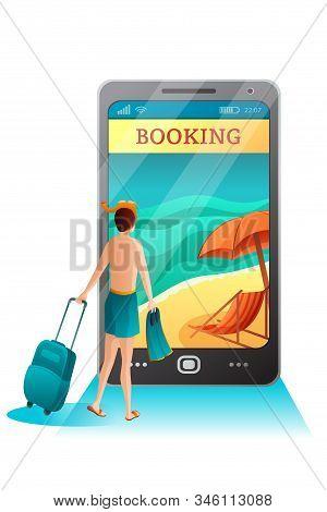 Resort Booking Online Flat Vector Illustration. Man Uses Smartphone To Make Bungalow Reservation. Ho