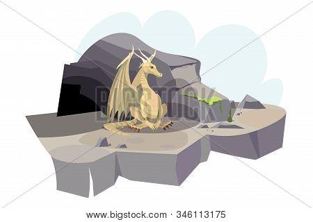 Dragon Near Cave Flat Vector Illustration. Chinese New Year, Zodiac Cartoon Character. Mythical Crea