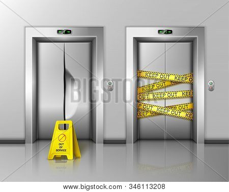 Broken Elevators Closed For Repair Or Maintenance. Caution Sign Stand Near Lift Damaged Doors With D