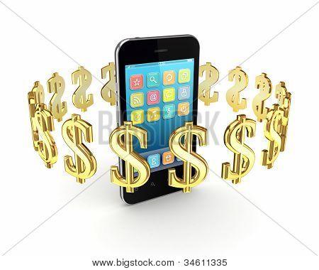 Dollar signs around modern mobile phone.