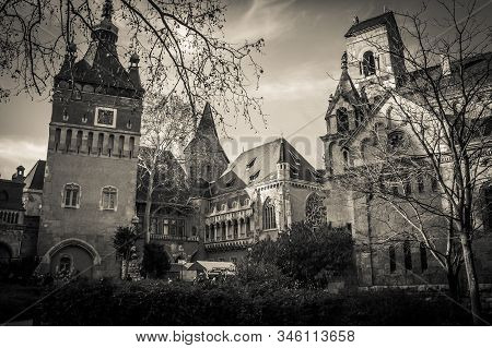 Budapest, Hungary - January 1, 2020: Black And White View Of Vajdahunyad Castle, One Of The Romantic