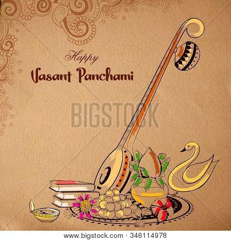 Illustration Of Goddess Of Wisdom Saraswati For Vasant Panchami India Festival Background