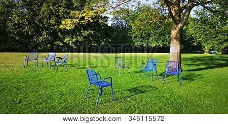 Seven Empty Metal Outdoor Chairs.unoccupied Loungers In Park Under Sprawling Tree On Bright Green Mo