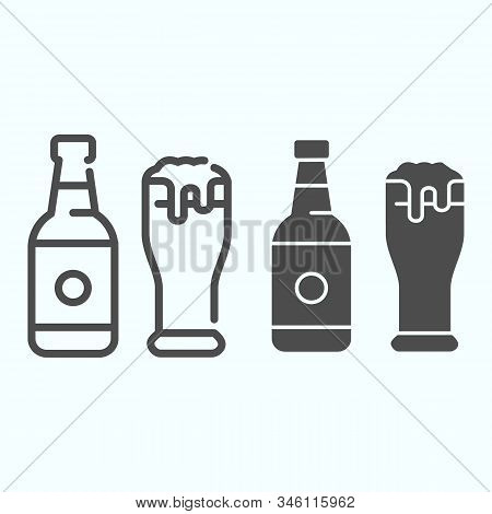 Beer Bottle And Glass Line And Solid Icon. Bottle And Glass Of Beer Vector Illustration Isolated On
