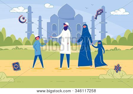 Four Membered Islamic Family In Traditional Clothing. Parents With Two Kids Against Ancient Mosque I