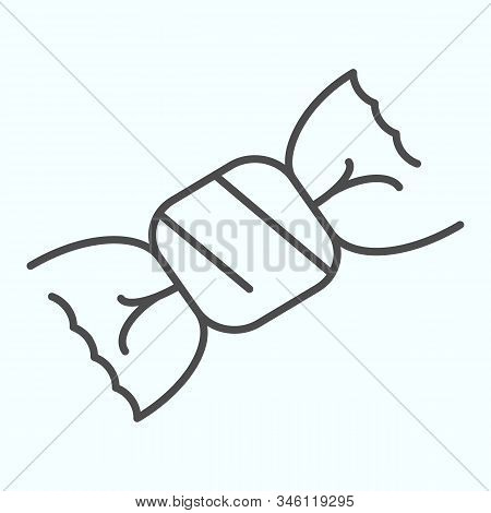 Candy Thin Line Icon. Chocolate Candy Vector Illustration Isolated On White. One Candy In A Wrapper
