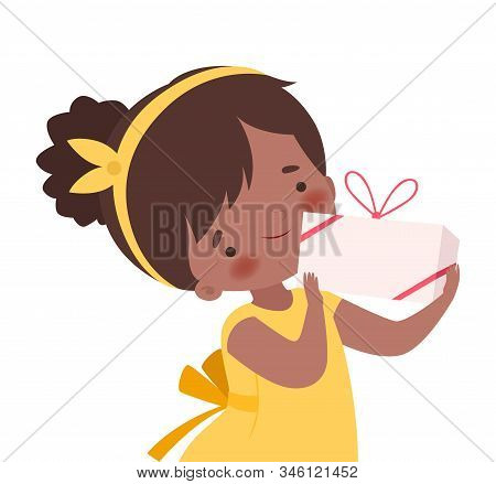 Little Girl Wearing Hairband Holding Carton Gift Box Tied With Ribbon Vector Illustration. Childish