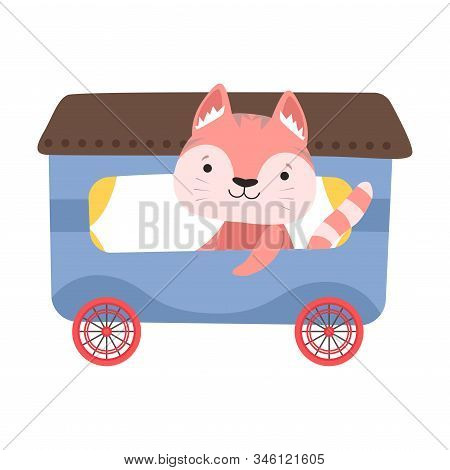 Funny Cat With Whiskers Riding On Carriage Vector Illustration