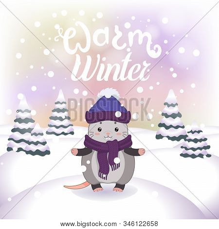 Winter Vector Illustration With Cartoon Animal Character On The Snowy Landscape And Snowfall Backgro