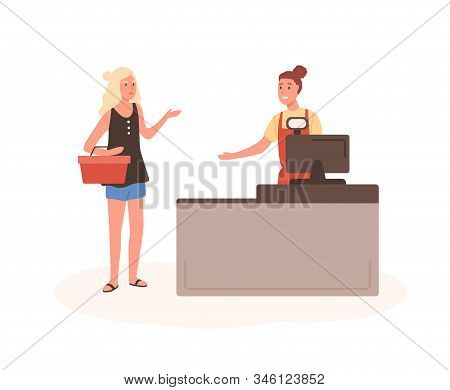 Angry Woman At Mall Checkout Flat Vector Illustration. Female Displeased Customer Standing In Queue